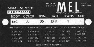 1959 Dataplate